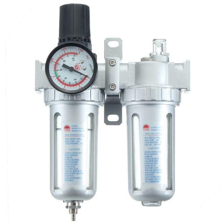 1/4 Inch BSP Mount Fitting Air Compressor Oil Lubricator Moisture Water Trap Filter Regulator