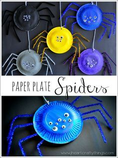 Paper Plate Spider Craft from I Heart Crafty Things. Araignée / assiette en carton --> à adapter en masque