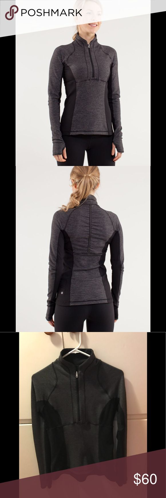Lululemon Run: Switch Back 1/2 Zip Reversible pullover in black/wee stripe black heathered black. No rip tag but is a 6. Pre-loved but in great condition, always washed in cold and hung to dry. Feel free to ask for details or more photos. First two photos stock. Price will hold pretty firm for at least a couple of weeks. lululemon athletica Tops