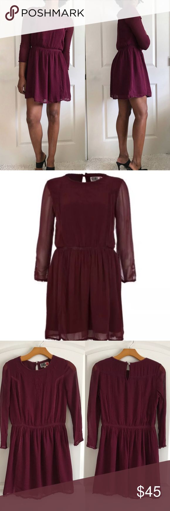 """Girl Chelsea River Island Embroidered Dress Long sleeve sheer dress by by River Island. U.K. Size 8 equals US size 4. Fits like a 2 or 0. Fully lined Dress with embroider detail. Key hole button in back. Hidden side zip. Pom Pom trim on sleeve. Small line of pulled thread in back (pic included) length 32"""", pit to pit 17"""" River Island Dresses Long Sleeve"""
