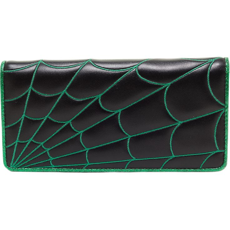Hell's Boutique - Women's Spiderweb Wallet Green (Available in multiple colors!) Goth Punk Psychobilly HellsBoutique.com