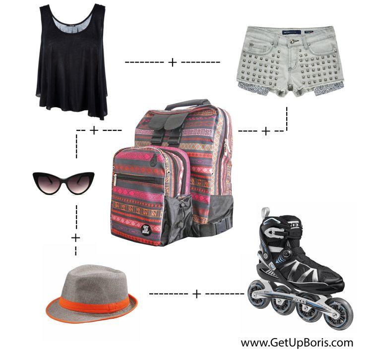 Summer look Inline skating. Backpack available at www.tienda.getupboris.com