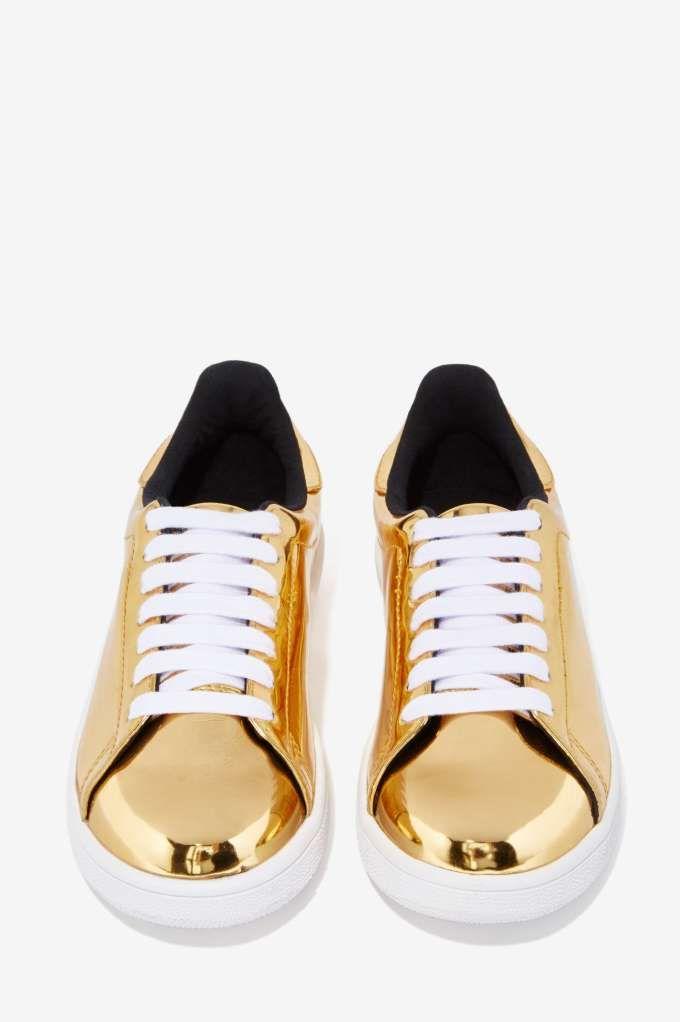 JC Play By Jeffrey Campbell Player Sneaker - Gold Metallic - Shoes | Flats  | Jeffrey