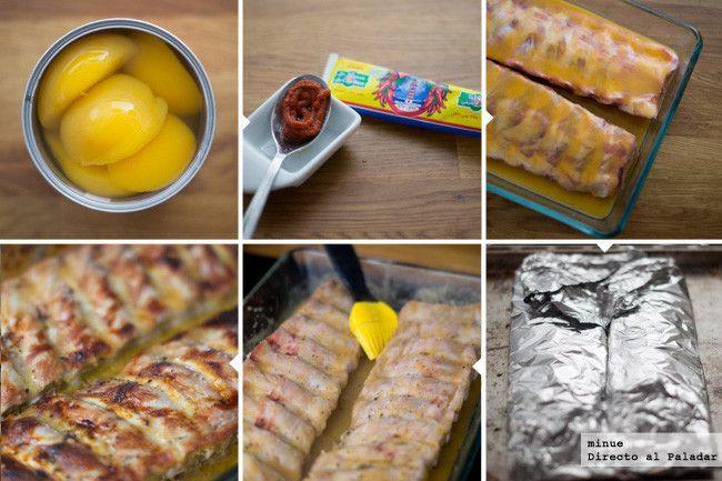 Costillas de cerdo con salsa de agridulce de melocotones - 2