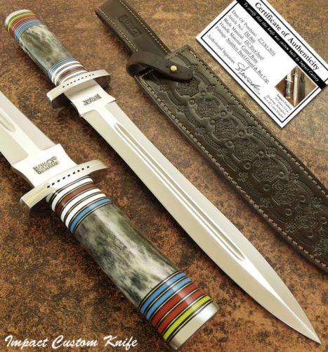 Влияние-столовые приборы-редкая-таможня-Д2-большие-кровь рифленая-кинжал-нож-верблюжьей кости ручки