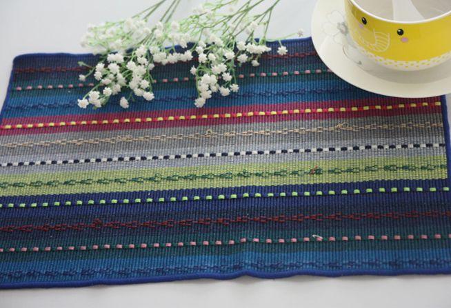 Бесплатная Доставка Красочный мода чистая полоса столовых стол коврик ткань западной коврик подставки дисковые колодки обеденный стол коврик Чистого хлопка