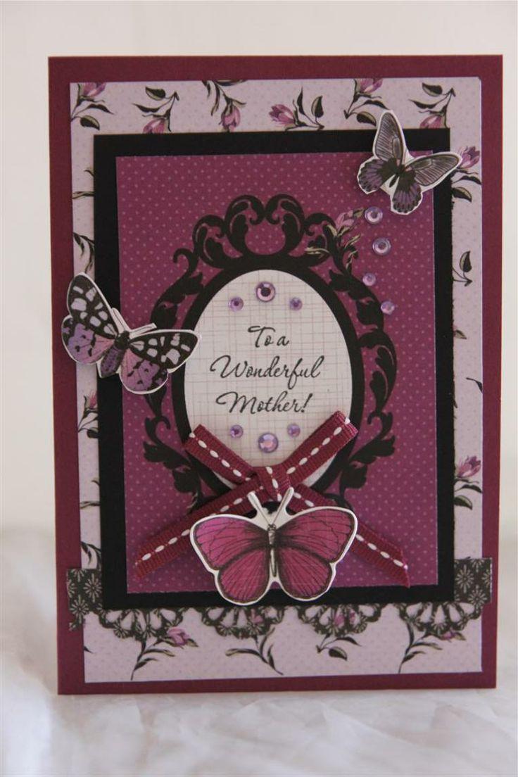 kaisercraft velvet crush, stampin up sentiment stamp, cardstock, mothers day card idea