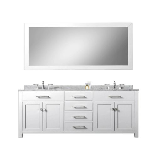 Madison Pure White 72 Inch Double Sink Bathroom Vanity With Matching Framed  Mirror Water C