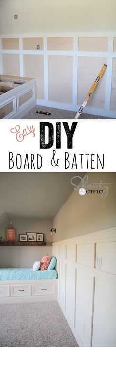 LOVE this Board & Batten tutorial using plywood! So easy! www.shanty-2-chic.com Do this on the wall to the garage except add bead board to the inside panels