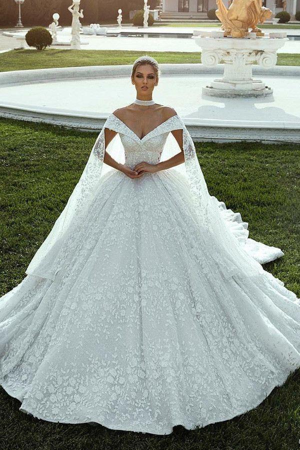Herrliche Spitze Schulterfrei Ausschnitt Ballkleid Brautkleider mit Spitze …