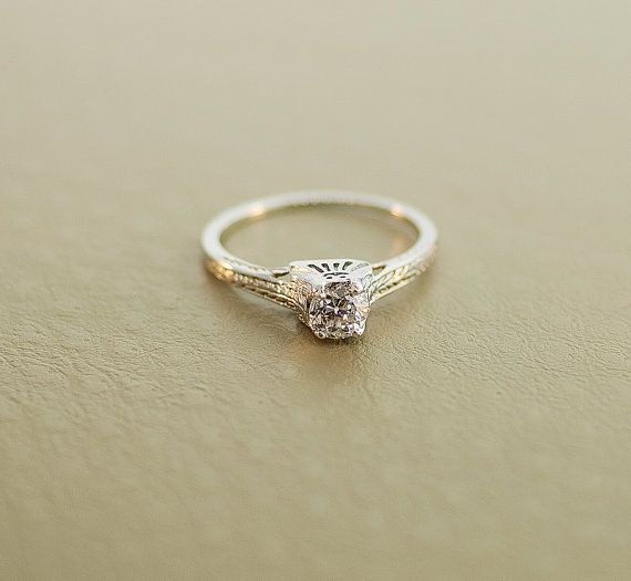 1920's Engagement Ring  18k White Gold Antique by SITFineJewelry, $2890.00