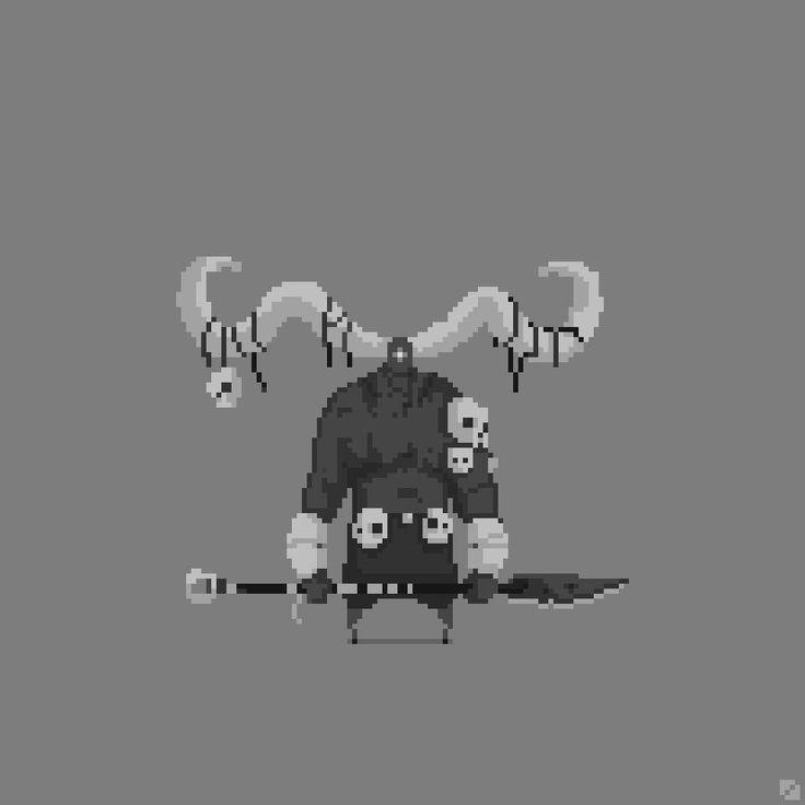 Some sort of Minotaur in greyscale #pixel_dailies @Pixel_Dailies #pixelart