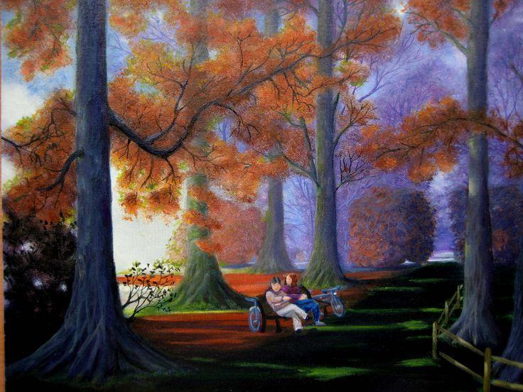 Óleo 41 x 33 de Javier Úcar - Enfadados en el bosque
