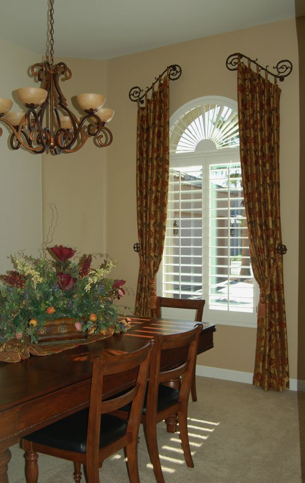 Tuscan country window treatments dining rooms old for Dining room window treatments