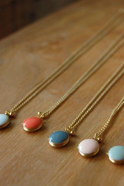 Lockets: Pendant Necklace, Locket Necklace, Tiny Enameled, Small Dots, Tiny Locket, Three Small, Bridesmaid Gift