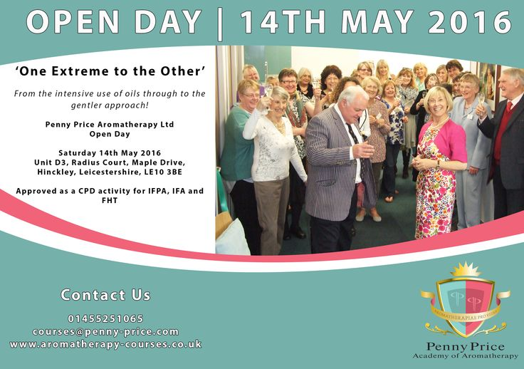 Join Penny Price Aromatherapy on Saturday 14th May for our marvellous Open Day! This feast of aroma-filled action explores 'One Extreme to the Other', from the intensive use of oils through to the gentler approach. Approved as a CPD activity, get your ticket today by contacting 01455251065 or email: courses@penny-price.com