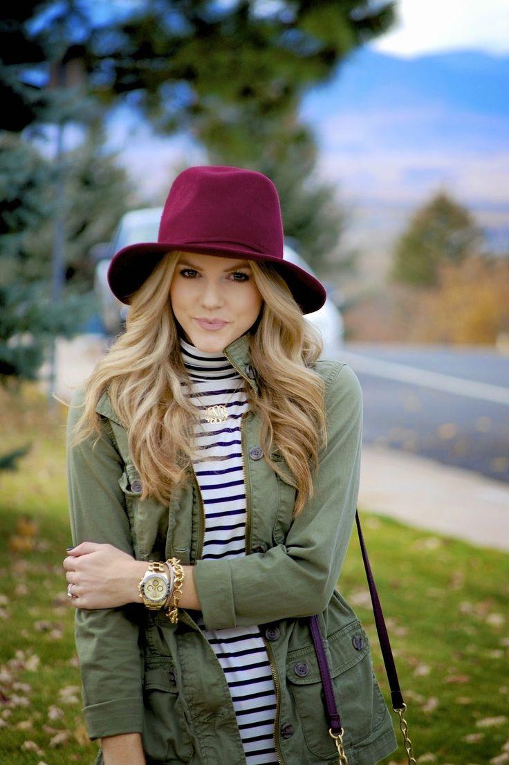 Maroon fedora + field jacket + striped turtleneck + sparkly necklace. Polished & Pink.