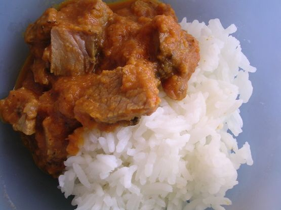 The original recipe for this curry is made with lamb loin chops but since they are so expensive, I tried making it with leftover roast lamb. It was a big hit. This is now my standby recipe whenever we dont finish a leg of lamb.