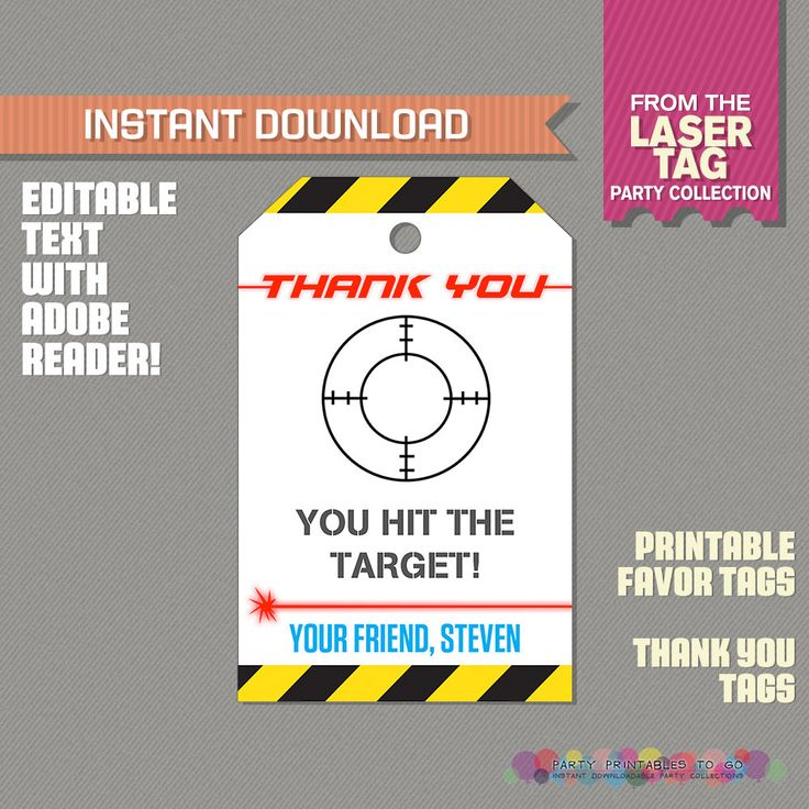 Laser Tag Party Favor Tags / Laser Tag Thank you Tag (Ink Saver) - Laser Tag Birthday - Edit and print at home with Adobe Reader by PartyPrintables2go on Etsy