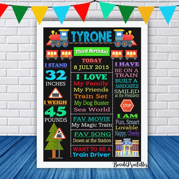 Blackboard Train Print for Boys Happy Birthday Poster Print