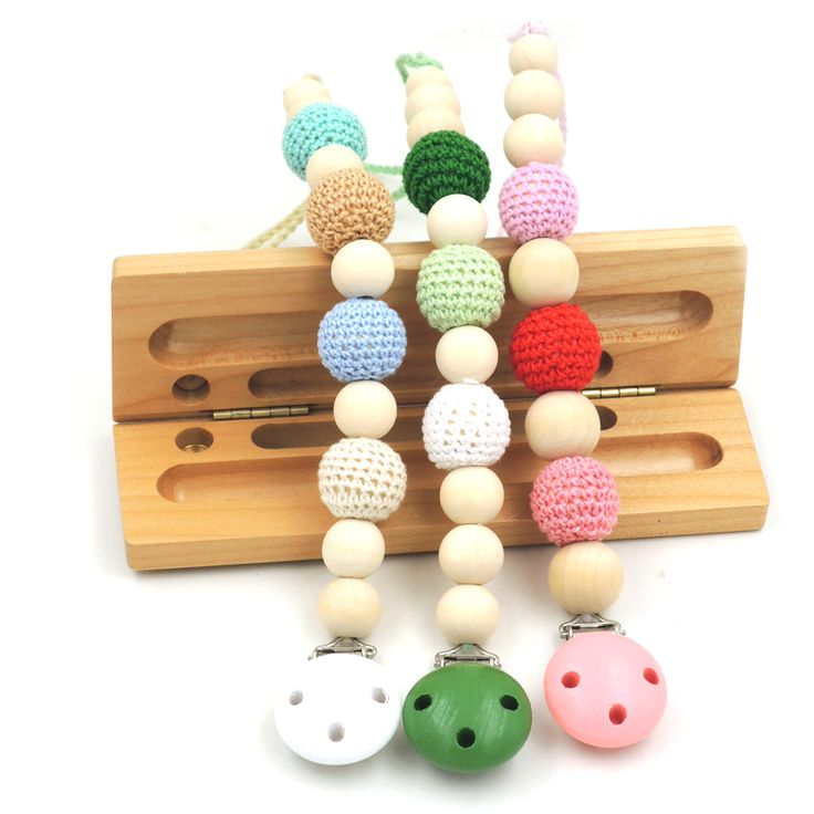 1 PC SALE 3 COLOR TO CHOOSE Natural Baby pacifier clip  Dummy holder Crochet beads Girl/Boy new mommy gift NT128