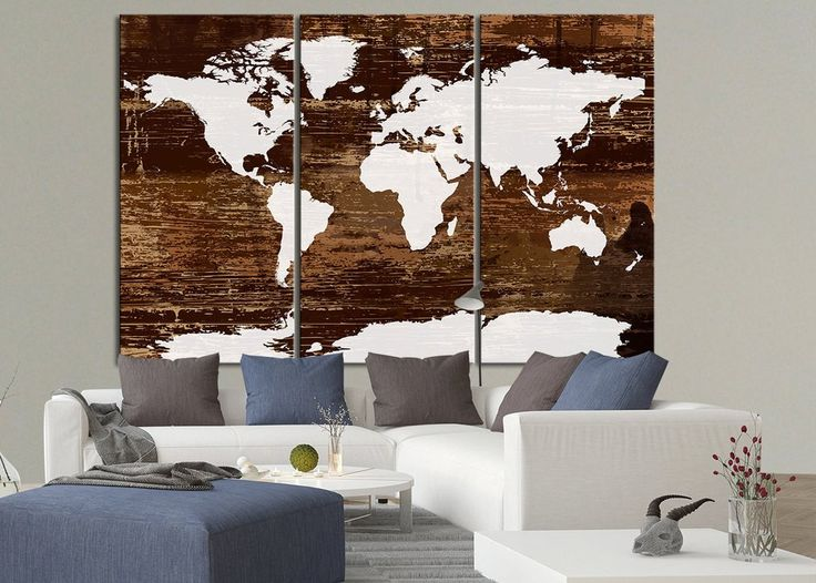 Canvas Print World Map on Rustic Wood - Wood Map Canvas Print  Ready to Hang 3 Panels Stretched on Deep 3cm Frame