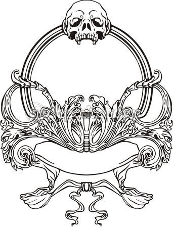 Frame with skull in Art Nouveau style. Black and whie vector illustration.