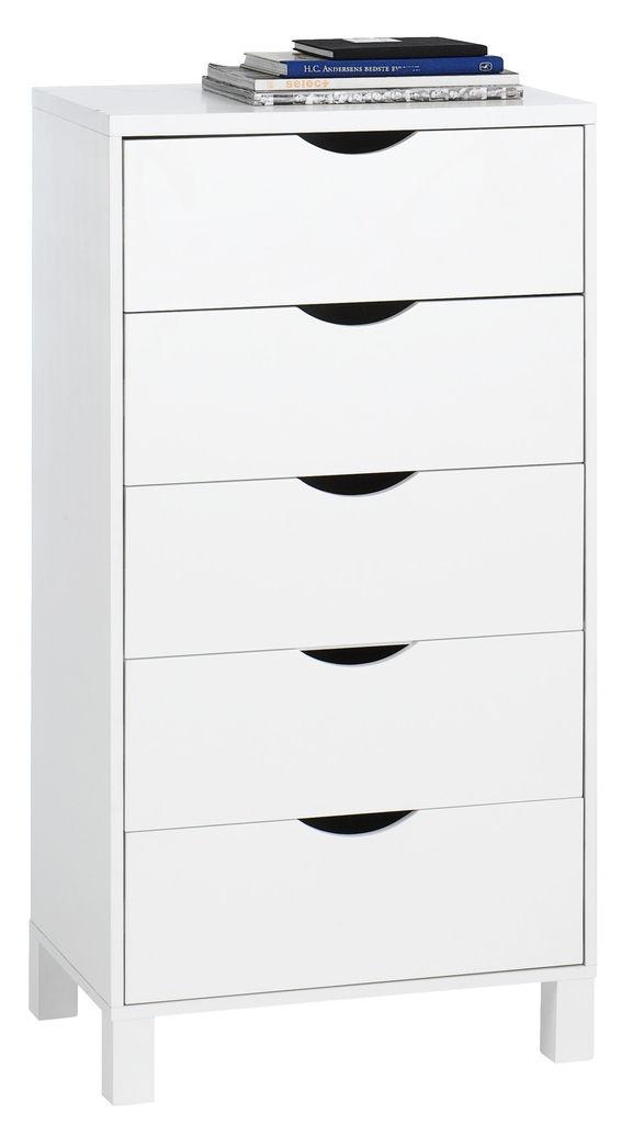 Komoda YALE wąska 5 szuflad biała w JYSK.