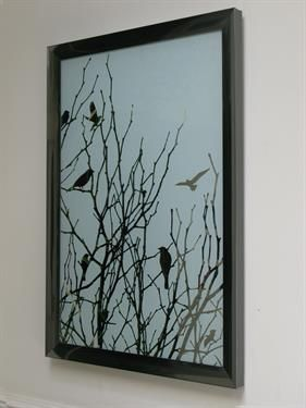 Birds in tree mirrored wall panel