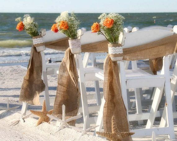 Burlap chair sash Stitched  edges  Rustic Wedding by TwoBeWed