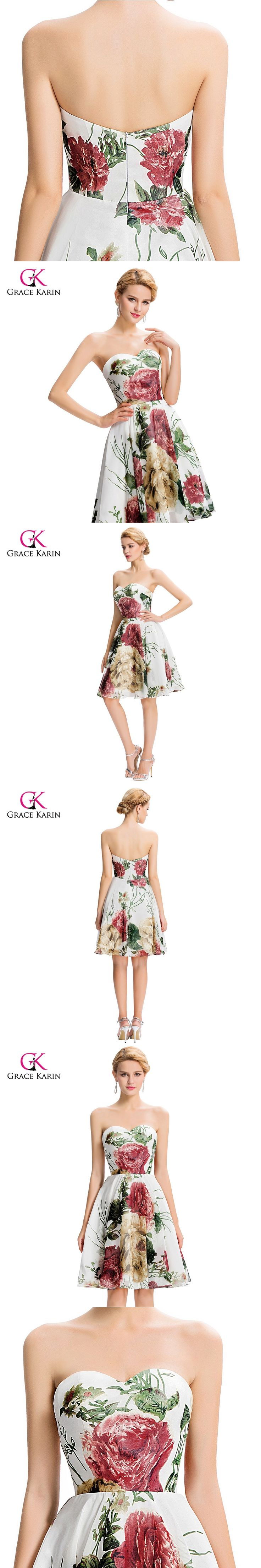 Cheap Short Bridesmaid Dresses under 50 Grace Karin Floral Print Bridesmaid Dress 2017 Wedding Party Dress Prom Dresses GK32
