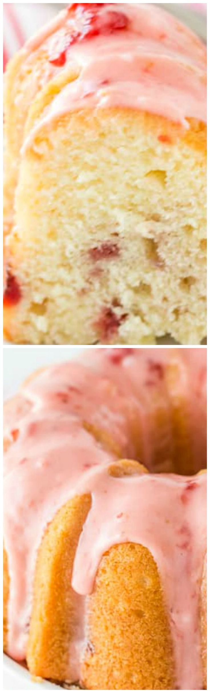 Strawberry Lemonade Pound Cake ~ A luscious sweet lemon pound cake is infused with strawberries and topped with a strawberry glaze