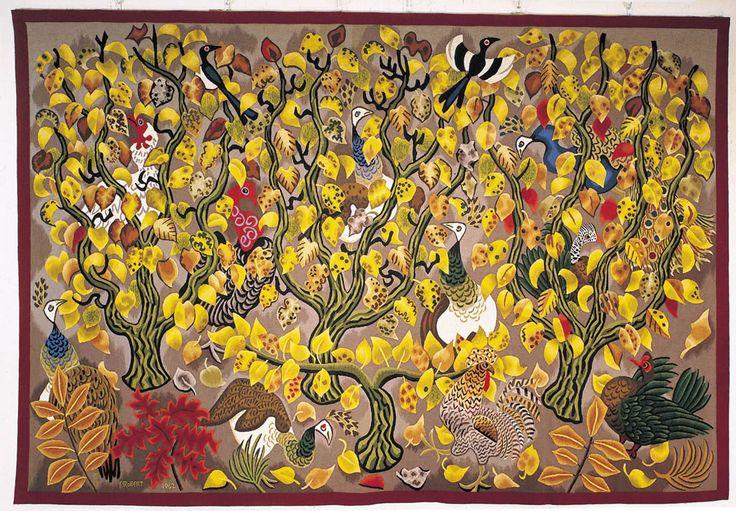 """Dom Robert (1907-1997), un grand nom de la tapisserie d'Aubusson : Maison Pillon à Versailles, vente intitulée """"Floralies 2016"""" Lot 263 :  Tapisserie Le Vainqueur (165 x 176) Tissage atelier Goubely, Aubusson. carton de 1986. ex 1"""