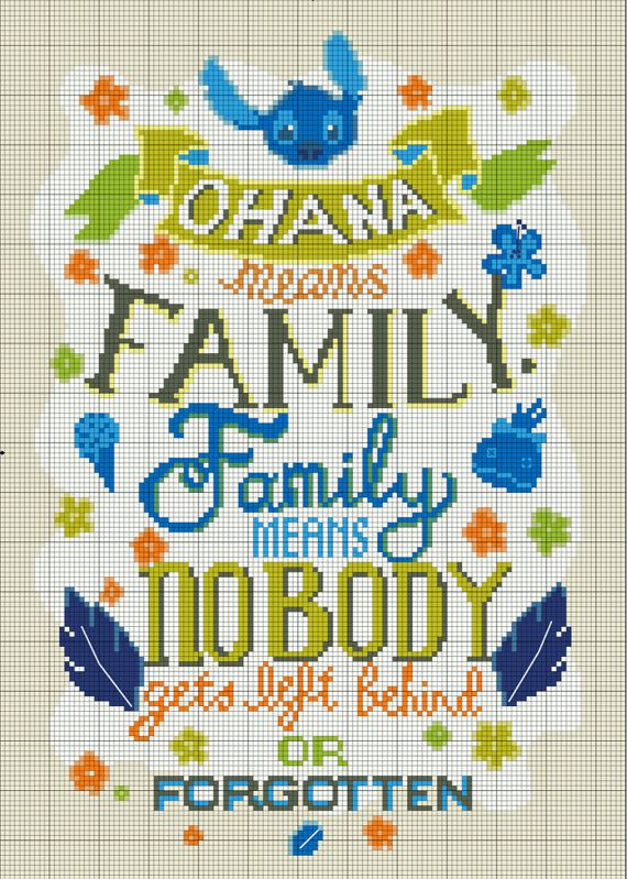 Lilo and Stitch Ohana Means Family Cross Stitch by StitchandaSong