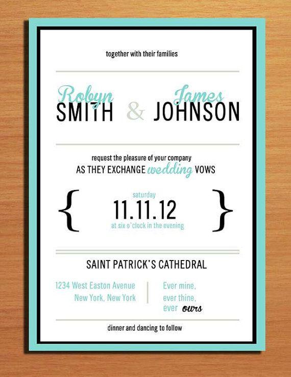 Typography Tiffany Blue Wedding Invitation by Sapphiredigitalworks, $20.00