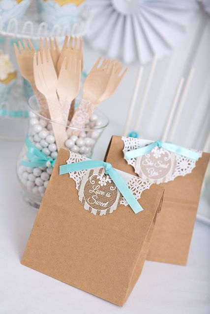 Favors at a Lace and Pearls Bridal Shower!  See more party ideas at CatchMyParty.com!  #partyideas #bridalshower