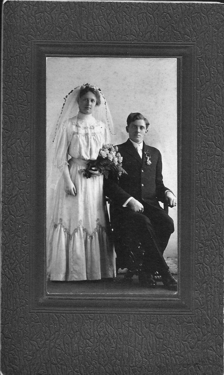 Edwardian Wedding Portrait 1900's Bride and Groom Vintage Antique. $6.00, via Etsy.