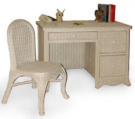 Florentine Desk And Chair Set From Schober | Whitewash Wicker Bedroom  Furniture | Americanrattan.com