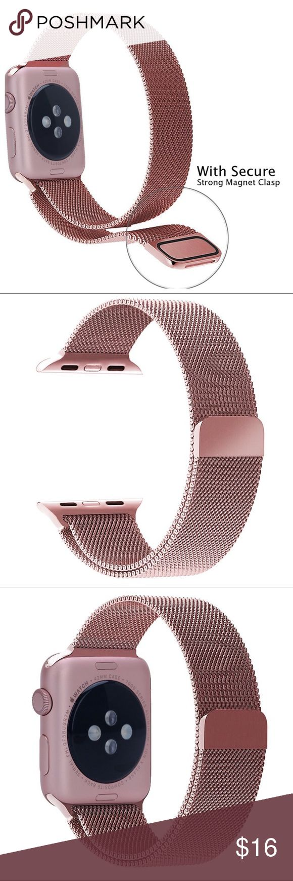 APPLE WATCH ROSE GOLD REPLACEMENT BAND Apple Watch Milanese Loop Stainless Steel iWatch Band for Apple Watch Series 1 Series 2 Sport Edition with Magnet Lock 38mm-Rose Gold). Unique magnet clasp design, no buckle needed, just stick and lock your watch band easily. Personalize your Apple Watch with this refined strap compared to Apple ones, but at much less price. Durable and elegant stainless steel. Enjoy! Accessories Watches