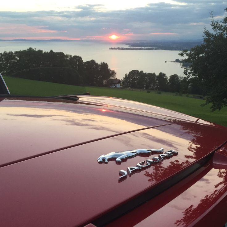 Jaguar F im Sonnenuntergang am Bodensee.