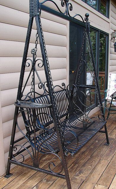 Hand forged Handmade Victorian Ornate Wrought Iron Achitectural Garden Porch Swing. $395.00, via Etsy. Love this!