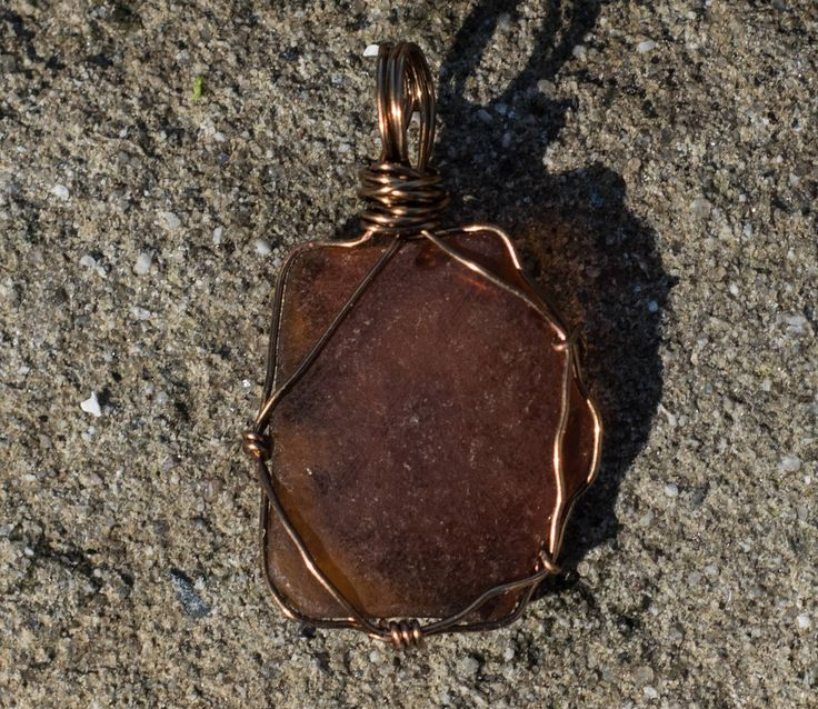 Amber Beach Glass Pendant - 44mm tall 27mm wide Amber Sea Glass Pendant - Shipping is on Us at Everything Vintage by EverythingVintageBC on Etsy