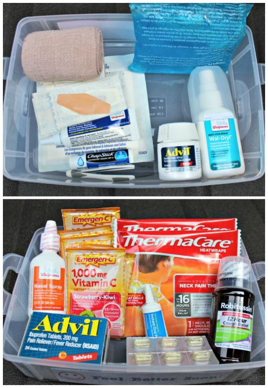Tips on organizing a First Aid Kit for the car, classroom or college student.