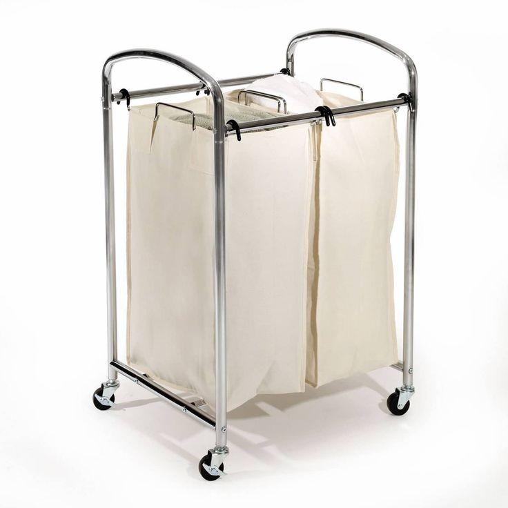 Seville Clics Mobile Double Bag Compact Laundry Hamper Sorter Cart Chrome