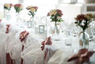 Pink on white table settings Wedding detail. North Stradbroke Island wedding photography