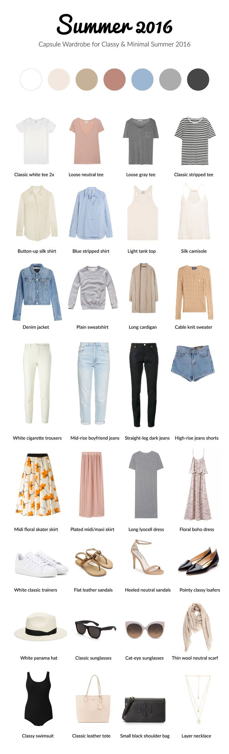Summer 2016 capsule wardrobe for classy and minimal. #capsule