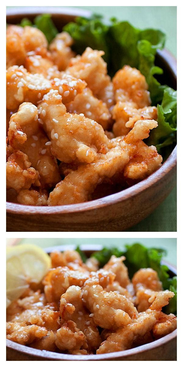 Best ever honey sesame chicken. Easy recipe with fried chicken pieces in a sticky sweet and savory honey sesame sauce | rasamalaysia.com