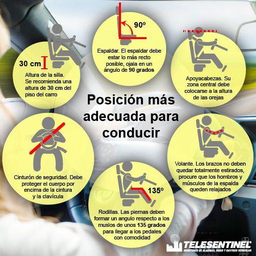No solo cuidamos lo físico, cuidamos de tu bienestar. .. ¡Ten en cuenta estos tips para la posición más adecuada al conducir! Telesentinel es #confianza #seguridad