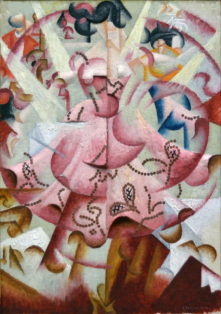 Dancer at Pigalle - Gino Severini, 1912 - oil and sequins on sculpted gesso on artist's canvasboard - Baltimore Museum of Art