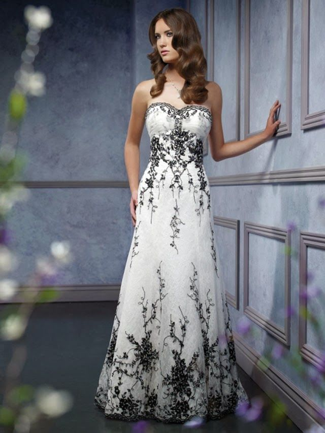 Strapless Sweetheart Wedding Dress, Black and White Wedding Dress